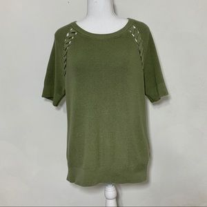 Tommy Hilfiger Short Sleeve Knit Green Sweater M